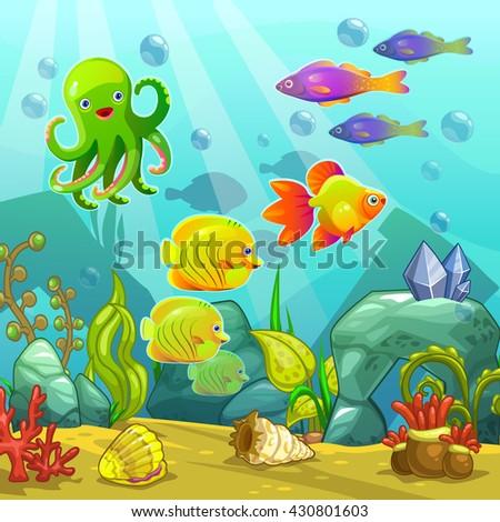 Cartoon underwater landscape, vector undersea illustration, funny aquarium  - stock vector