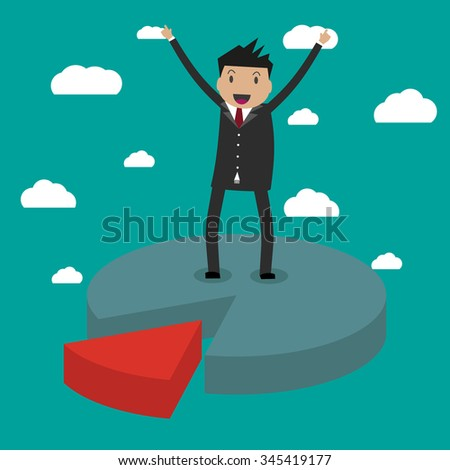 cartoon usinessmen on difference pieces of pie chart, concept of disadvantage of business partnership. vector illustration in flat design on green backgound with clouds. - stock vector