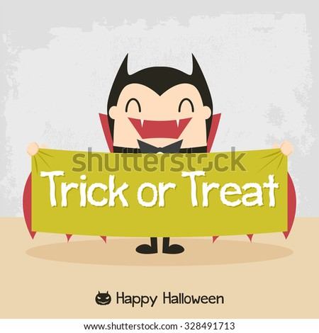 Cartoon vampire. Dracula Cartoon. Count Dracula. Halloween vampire character design with typographic treatment of word Trick or Treat. All in a single layer. - stock vector