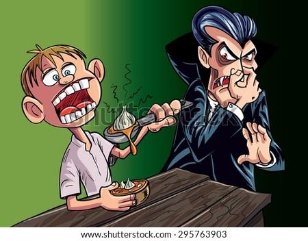 Cartoon vampire scared of kid eating garlic - stock vector
