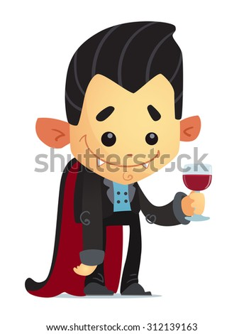Cartoon Vampire with glass of blood - stock vector