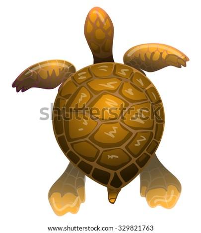 cartoon vector brown sea turtle - stock vector