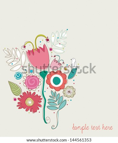 Cartoon vector card with cute bird. Floral wedding invitation in bright colors. Stylish save the date card - stock vector