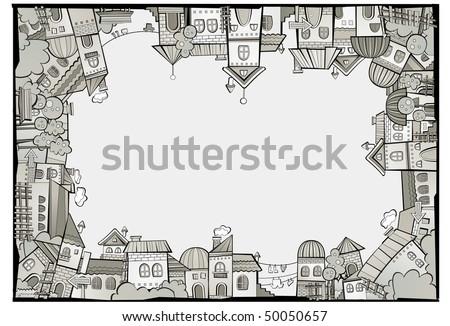 cartoon vector construction town border - stock vector