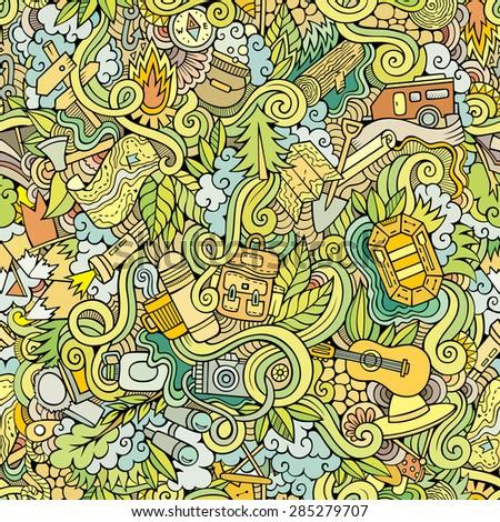 Cartoon vector doodles hand drawn camping seamless pattern - stock vector