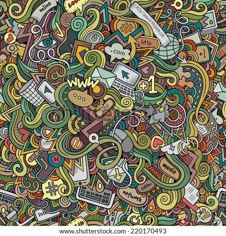 Cartoon vector doodles hand drawn internet social media seamless pattern - stock vector