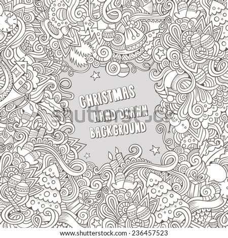 Cartoon vector doodles hand drawn New Year and Christmas frame background - stock vector