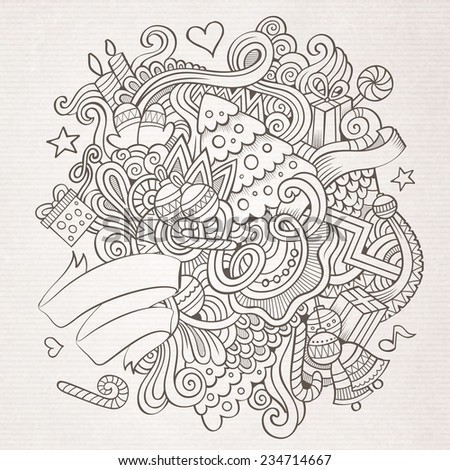 Cartoon vector doodles hand drawn New Year sketch background - stock vector