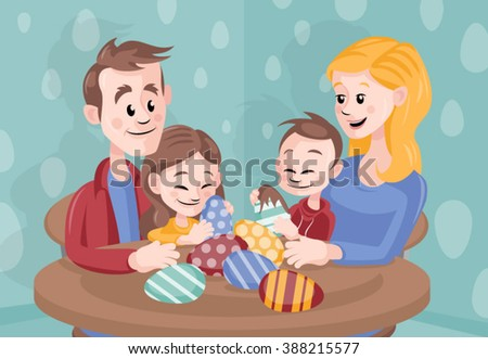 Cartoon vector family celebrating Easter at home - stock vector