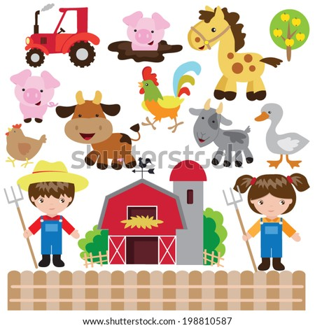 Cartoon vector farm illustration - stock vector
