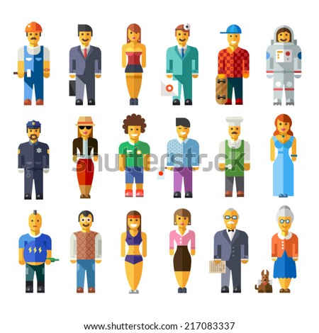 Cartoon vector flat people different characters: doctor, businessman, astronaut, model, chef, athlete, fitness coach, skater, grandfather, grandmother, scientist, police man - stock vector