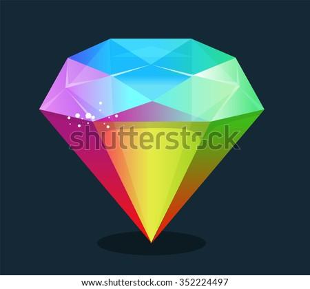 Cartoon vector gem and diamond icon rainbow color isolated on background. - stock vector