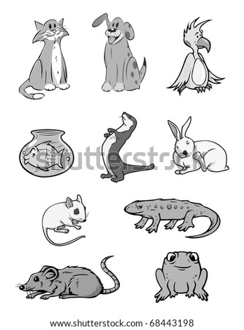 cartoon vector gray scale illustration of a pets collection - stock vector