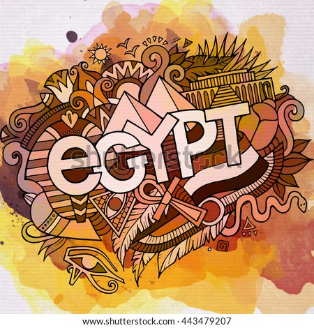 Cartoon vector hand drawn Doodle Egypt illustration. Watercolor detailed design background with objects and symbols - stock vector