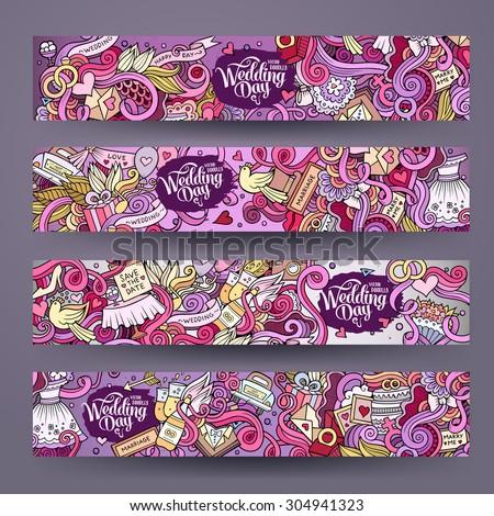 Cartoon vector hand-drawn Doodle on the subject of wedding. Horizontal banners design templates set - stock vector