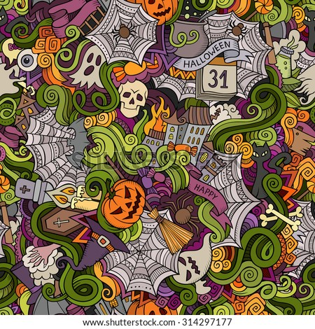 Cartoon vector hand-drawn Doodles on the subject of Halloween symbols, food and drinks seamless pattern. Colorful background - stock vector