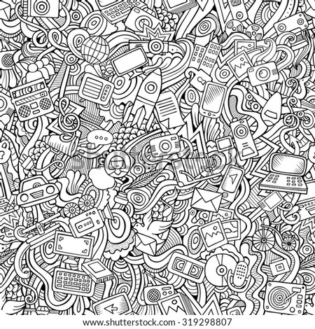 Cartoon vector hand-drawn Doodles on the subject of social media, internet, technical, computer, transport icons and symbols seamless pattern. Sketchy background - stock vector