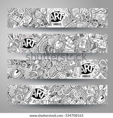 Cartoon vector hand-drawn sketchy  Doodle on the subject of art and craft. Horizontal banners design templates set - stock vector