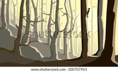 Cartoon vector horizontal illustration of forest on hill with trees and woodpecker. - stock vector