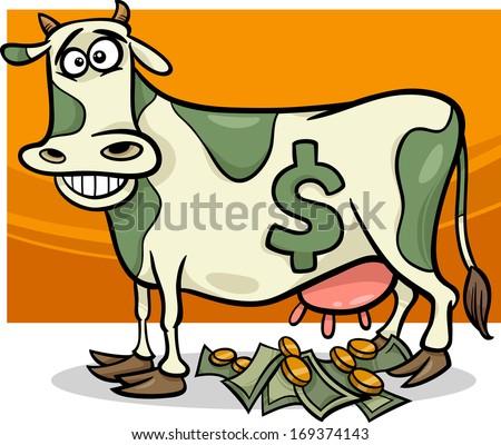 Cartoon Vector Humor Concept Illustration of Cash Cow Saying - stock vector
