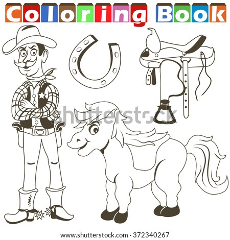 Cartoon vector illustration of a cowboy collection images for coloring book - stock vector