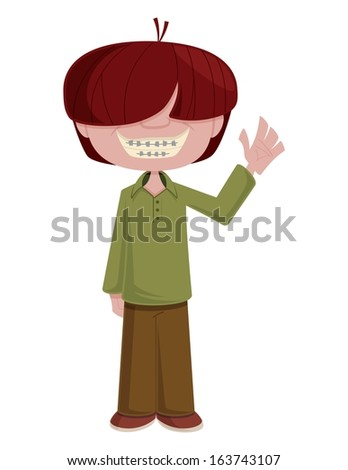 Cartoon vector illustration of a dorky young man waving hello. This is a eps ten file, and some transparencies were used to create the shadows and highlights on the character. - stock vector