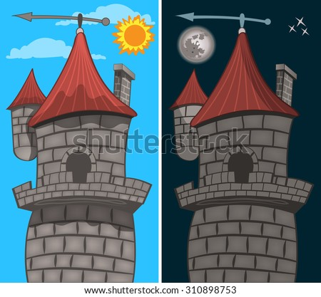 cartoon vector illustration of a Gothic castle, detail - in the day time and during the night. - stock vector
