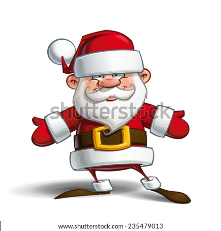 Cartoon vector illustration of a happy Santa Claus welcoming with open arms.  - stock vector
