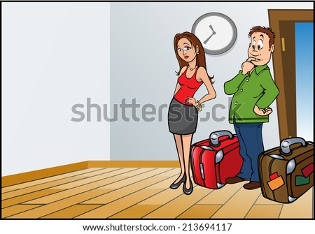 cartoon vector illustration of a husband wife travelers  - stock vector