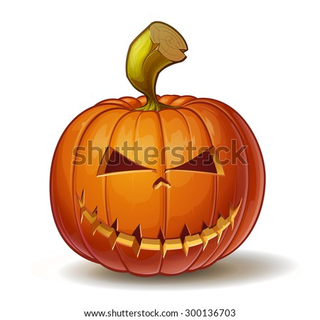 Cartoon vector illustration of a Jack-O-Lantern pumpkin curved in a mean expression, isolated on white. Neatly organized and easy to edit EPS-10 - stock vector