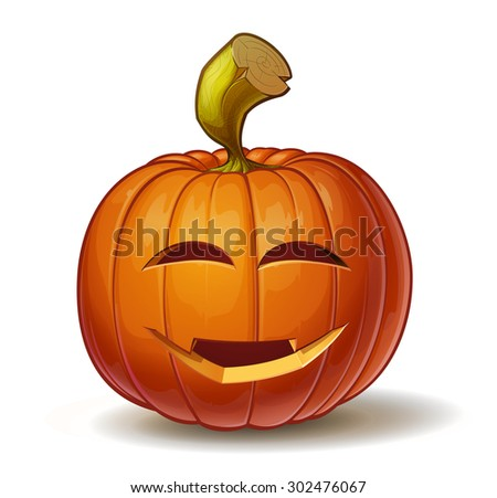 Cartoon vector illustration of a Jack-O-Lantern pumpkin curved in a smiling expression, isolated on white. Neatly organized and easy to edit EPS-10 - stock vector