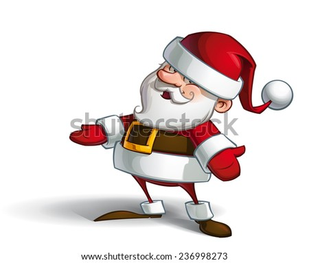 Cartoon vector illustration of a smiling Santa Claus with open hands and an inviting expression. - stock vector