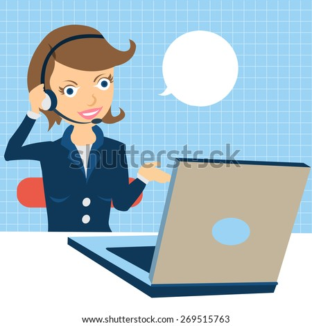 Cartoon vector illustration of a young female call center operator at the work. - stock vector
