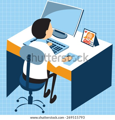 Cartoon vector illustration of a young man working on the computer - stock vector