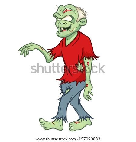 cartoon vector illustration of a zombie walking - stock vector