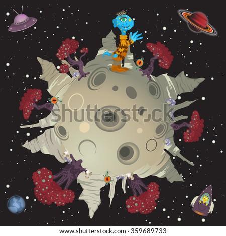 Cartoon vector illustration of an alien small world. - stock vector