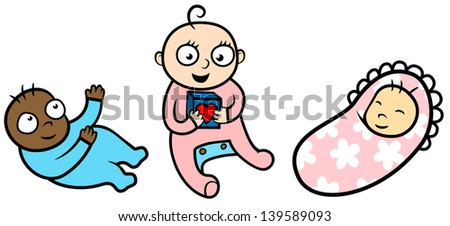Cartoon vector illustration of babies of different age and ethnicity, daycare concept - stock vector