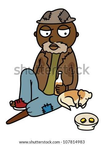 Homeless Black Man Clipart Black drunk homeless man