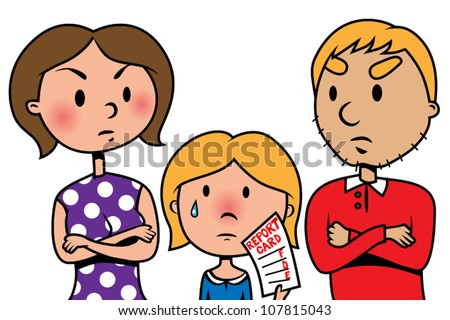 Cartoon vector illustration of child holding bad school report card an angry parents - stock vector