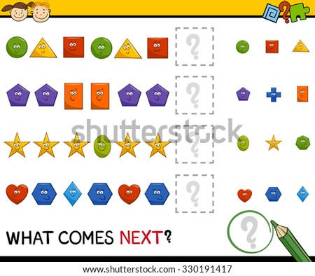 Cartoon Vector Illustration of Completing the Pattern Educational Task for Preschool Children with Basic Geometric Shapes - stock vector