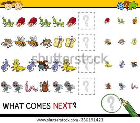 Cartoon Vector Illustration of Completing the Pattern Educational Task for Preschool Children with Insects - stock vector