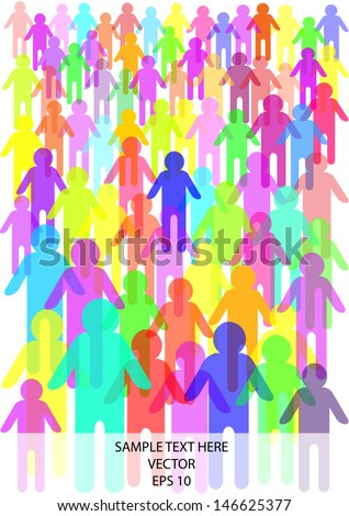 cartoon vector illustration of crowd of people in silhouettes and place for your text isolated on white background - stock vector