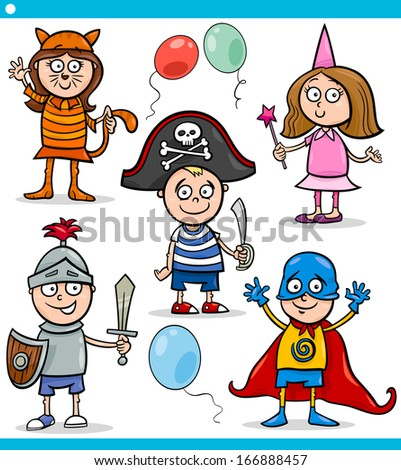 Cartoon Vector Illustration of Cute Children in Fancy Ball Costumes Characters Set - stock vector