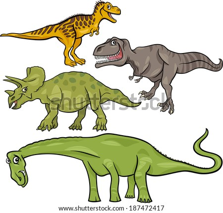 Cartoon Vector Illustration of Dinosaurs Prehistoric Reptiles Characters Set - stock vector