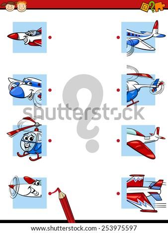Cartoon Vector Illustration of Education Halves Matching Game for Preschool Children - stock vector