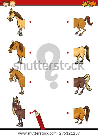 Cartoon Vector Illustration of Education Halves Matching Game for Preschool Children with Horse Animal Characters - stock vector