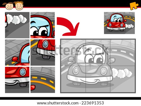 Cartoon Vector Illustration of Education Jigsaw Puzzle Game for Preschool Children with Funny Car - stock vector