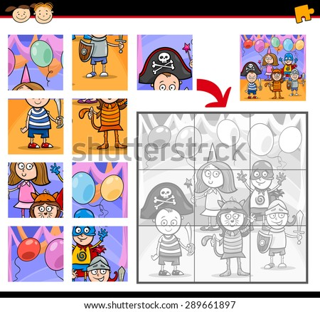 Cartoon Vector Illustration of Education Jigsaw Puzzle Game for Preschool Children with Kids on Masked Ball  - stock vector