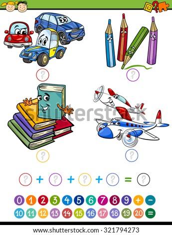 Cartoon Vector Illustration of Education Mathematical Addition Task for Preschool Children - stock vector