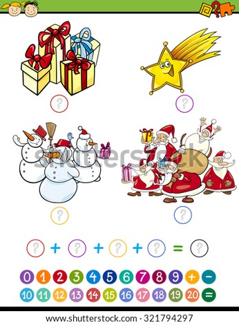Cartoon Vector Illustration of Education Mathematical Addition Task for Preschool Children with Christmas Characters - stock vector